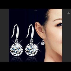 Crystal CZ Round Hook Earrings